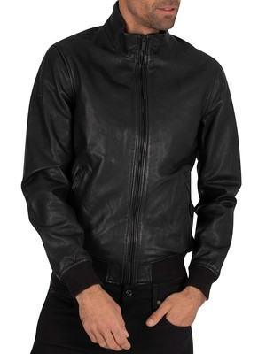 Superdry Lightweight Leather Track Jacket - Black
