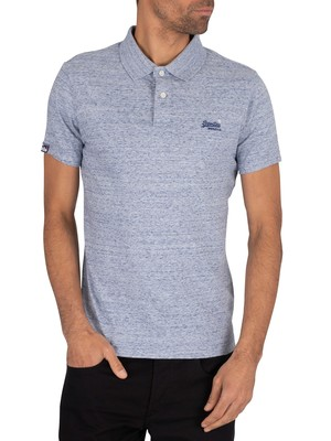 Superdry Orange Label Jersey Polo Shirt - Gravel Blue Grit