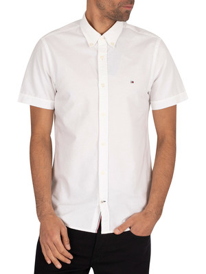 Tommy Hilfiger Slim Organic Oxford Shortsleeved Shirt - White