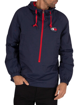Tommy Jeans Contrast Zip Pullover Hoodie - Twilight Navy