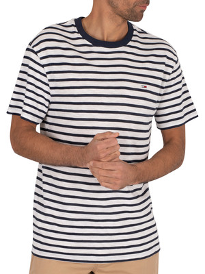 Tommy Jeans Stripe T-Shirt - Twilight Navy/White