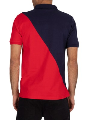 Fila Anton Cut Sew Polo Shirt - Peacoat/Chinese Red