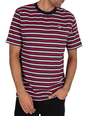 Fila Hugh Yarn Dyed Stripe T-Shirt - Peacoat/White/Red