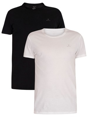 GANT 2 Pack Lounge Crew Neck T-Shirts - Black/White