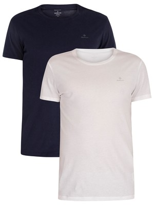 GANT 2 Pack Lounge Crew Neck T-Shirts - Navy/White