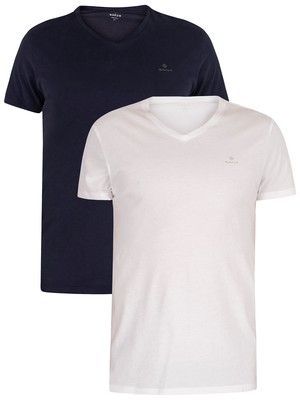 GANT 2 Pack Lounge V-Neck T-Shirts - Navy/White