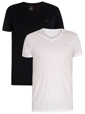 GANT 2 Pack Lounge V-Neck T-Shirts - Black/White