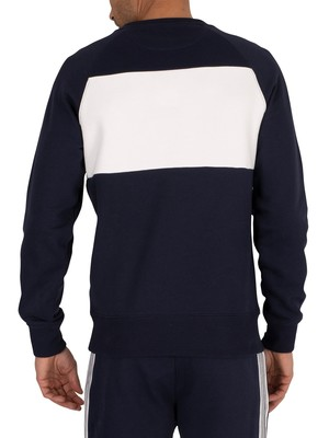Gant Stripe Branded Sweatshirt - Evening Blue