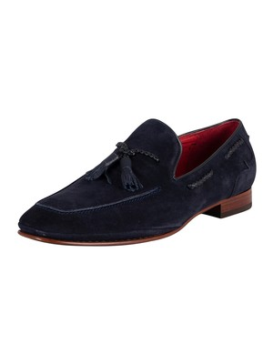 Jeffery West Martini Suede Tassel Loafers - Dark Blue Croste Suede