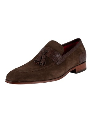 Jeffery West Soprano Suede Tassel Loafers - Dark Brown Velour/Croc