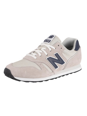 New Balance 373 Suede Trainers - Silver Birch/Team Navy