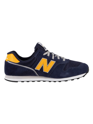 New Balance 373 Suede Trainers - Pigment/Team Gold