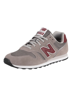 New Balance 373 Suede Trainers - Marblehead/Burgundy