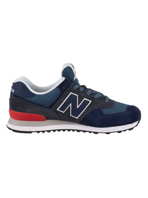 New Balance 574 Suede Trainers - Stone Blue/Outerspace