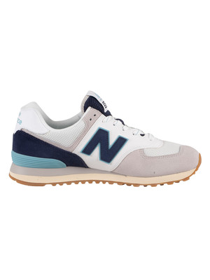 New Balance 574 Suede Trainers - Grey/Navy