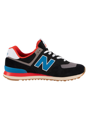 New Balance 574 Suede Trainers - Black/Blue/Red