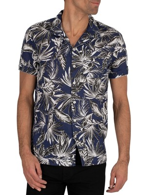 Superdry Edit Cabana Shortsleeved Shirt - Blue Palm