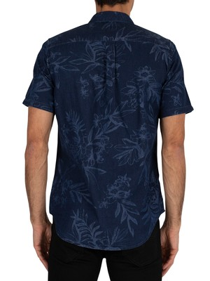 Superdry Miami Loom Shortsleeved Shirt - Tropical Indigo