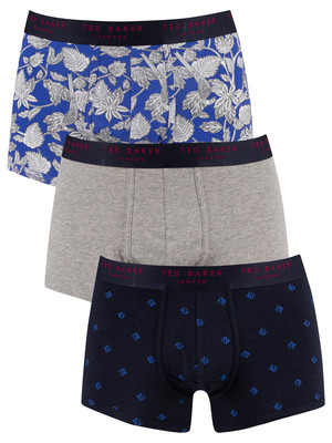 Ted Baker 3 Pack Trunks - Ava/Grey Heather/Dazzling Blue