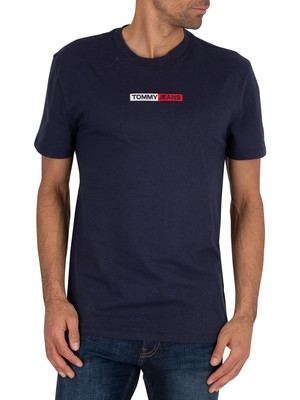 Tommy Jeans Embroidered Box Logo T-Shirt - Twilight Navy