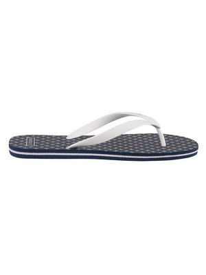Hackett London Polka Logo Flip Flops - Navy