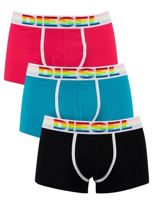 Diesel 3 Pack Damien Trunks - Black/Blue/Pink