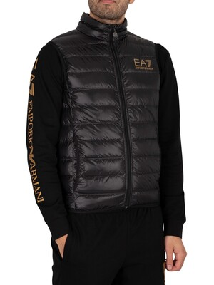 EA7 Down Gilet - Black/Gold