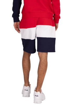 Fila Cut And Sew Placed Graphic Sweat Shorts - Peacoat/Red/White