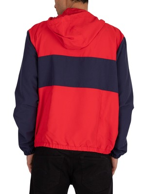 Fila Europa 1/4 Zip Windbreaker Jacket - Peacoat/Red/White