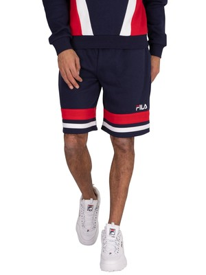 Fila Leo Lay On Stripe Sweat Shorts - Peacoat/Red/White