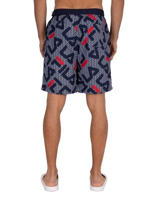 Fila Mally Inseam Swim Shorts - Peacoat/Red/White