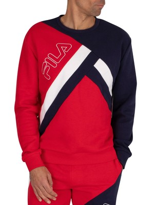 Fila Paco Cut And Sew Striped Sweatshirt - Red/Peacoat/White