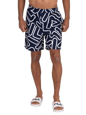 Fila Yash Outline Swim Shorts - Peacoat/White