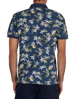 Gant Lemon Flower Print Polo Shirt - Insignia Blue