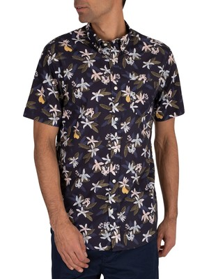 Gant Lemon Flower Print Shortsleeved Shirt - Insignia Blue