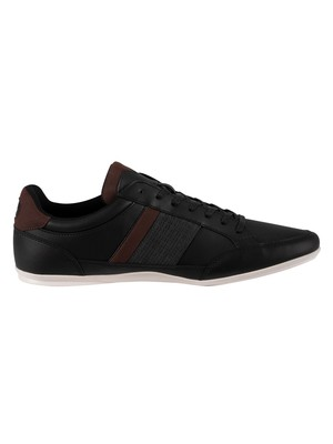 Lacoste Chaymon 120 4 CMA Leather Trainers - Black/Dark Brown