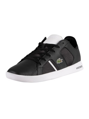 Lacoste Novas 120 1 SMA Leather Trainers - Black/White