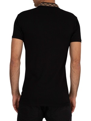 Sik Silk Chain Rib Collar Polo Shirt - Black