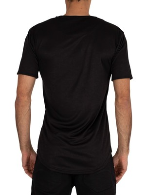Sik Silk Roll Sleeve T-Shirt - Black/Floral Animal