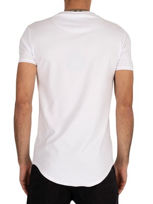 Sik Silk Tape Collar Gym T-Shirt - White/Gold