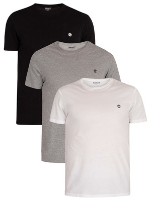 Timberland 3 Pack Basic Slim T-Shirts - White/Grey/Black