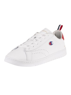 Champion Court Club Patch Leather Trainers - White/Red/Blue