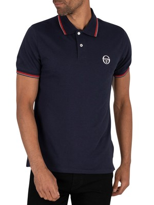 Sergio Tacchini Logo Polo Shirt - Navy/Vintage Red