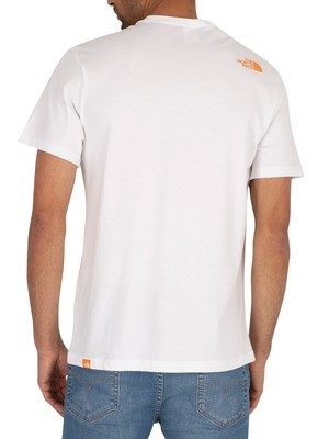 The North Face Fine T-Shirt - White/Flame Orange