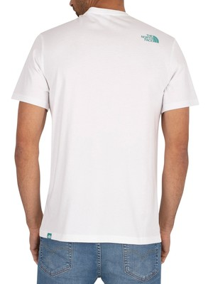 The North Face Fine T-Shirt - White/Lagoon