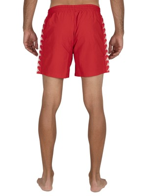 Kappa 222 Banda Coney Swim Shorts - Red Blaze/White