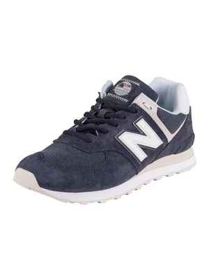 New Balance 574 Suede Trainers - Navy/White