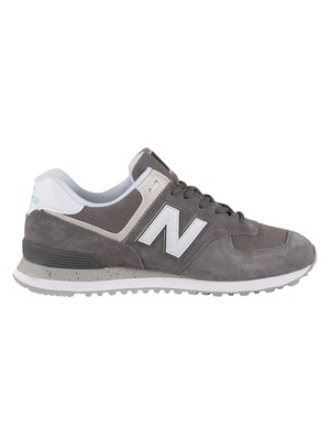New Balance 574 Suede Trainers - Castlerock/White