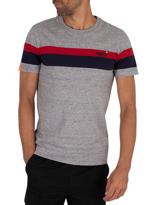 Superdry Classic Stripe T-Shirt - Collective Dark Grey Grit