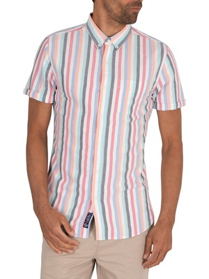 Superdry East Coast Oxford Shortsleeved Shirt - Broad Stripe Blue